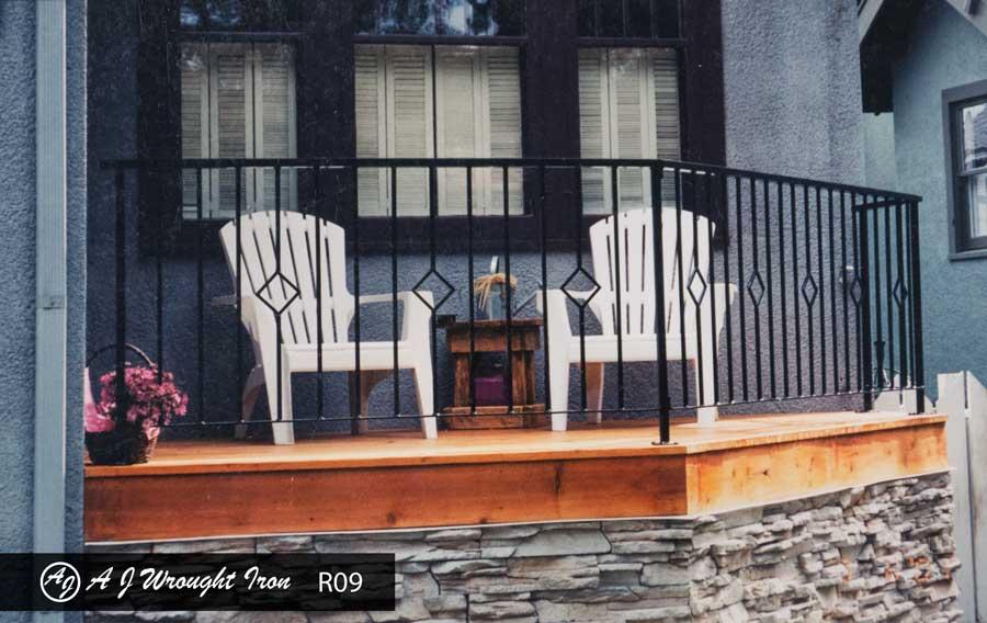 simple metal railing for exterior deck - diamond motif