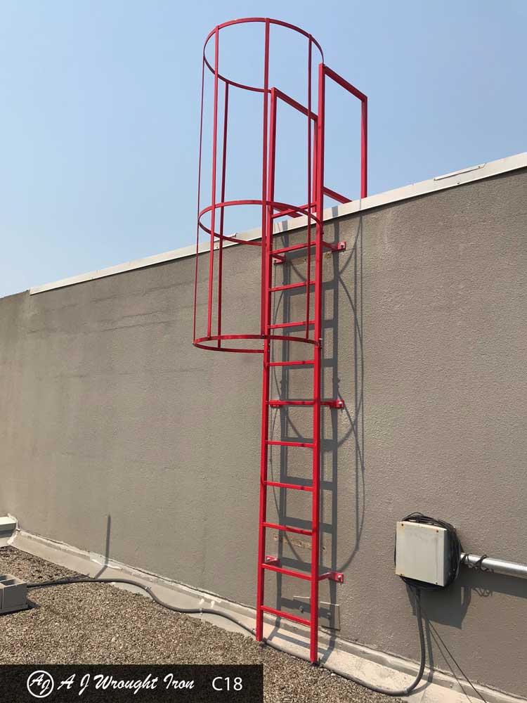 custom red metal ladder with safety cage