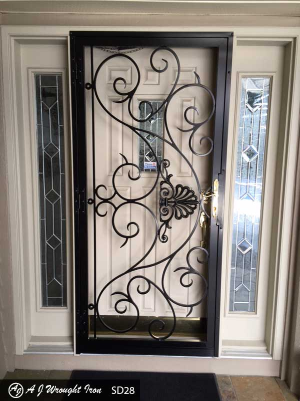 ornamental double security doors with slim lines